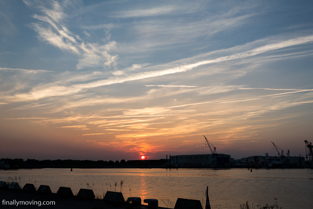 Sunset in Rostock at the ferry quai