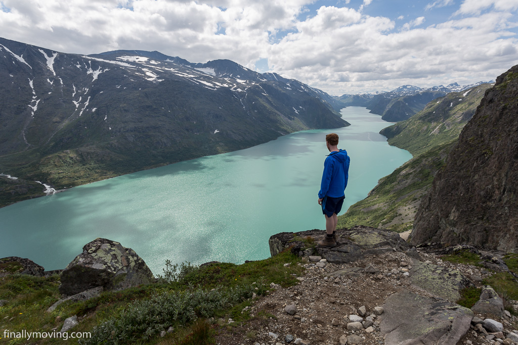 View back over lake Gjende into Jotunheimen peaks