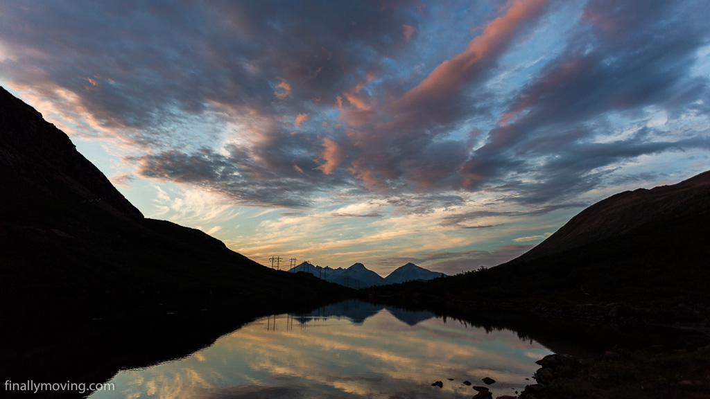 Sunset over Venjesdalvatnet lake