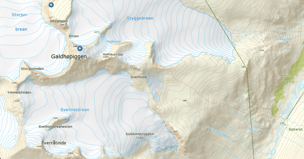 Map of Galdhøpiggen hike (c) Norgeskart