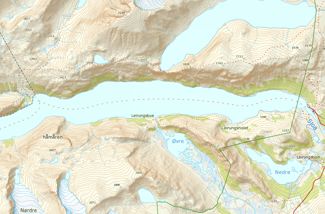 Map of Besseggen ridge hike. (c) http://www.norgeskart.no/