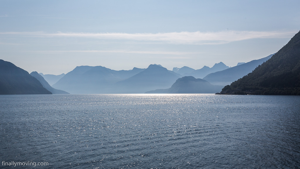 Morning view on Romsdal fjord