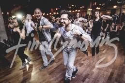 Line dance at Swingtzerland 2016 West Coast Swing Dancing event after party